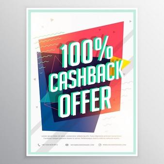 Cashback-rabatt broschüre flyer vorlage mit bunten geometrischen formen