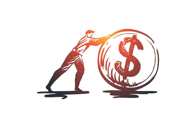 Cashflow, geld, finanzen, einkommen, münzkonzept. hand gezeichnete person und münze mit symbol der dollar-konzeptskizze.