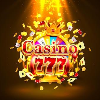 Casino 777 slots mit großen gewinnen und glückskönigbanner. vektor-illustration