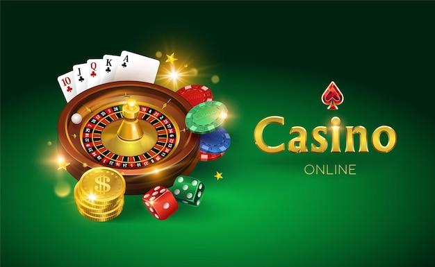 Casino auf grünem grund. würfel, goldmünzen, karten, roulette und chips. illustration