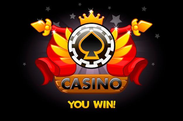 Casino auszeichnungen. casino-bewertungssymbole mit pokerchip und band. illustration für casino, slots und game ui.