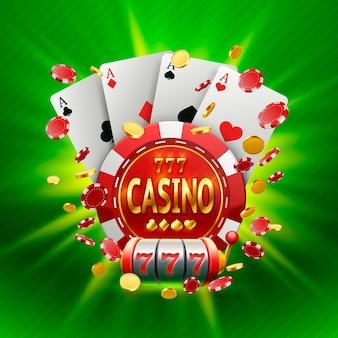 Casino-banner in einem rahmen auf einem leuchtenden hellen hintergrund. vektor-illustration
