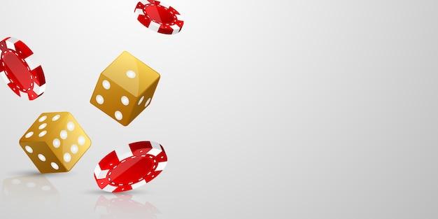 Casino banner jackpot design chip verziert mit goldenen glitzernden spielpreiszeichenmünzen.