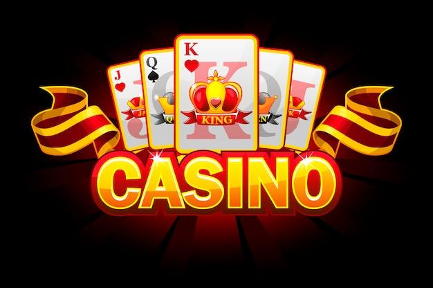 Casino banner mit anzug von spielkarten und band.