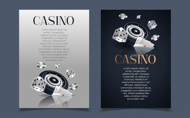 Casino-banner mit casino-chips und karten. poker club texas holdem.