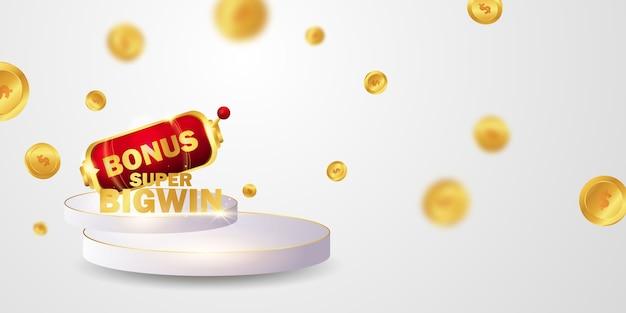 Casino banner mit goldenen glitzernden münzen verziert