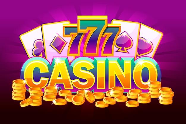 Casino banner mit karten und goldenen münzen