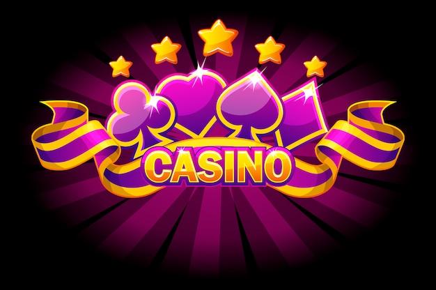 Casino banner mit spielkartensymbolen und violettem band.