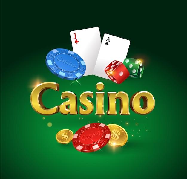 Casino banner mit würfeln würfel fliegen goldmünzen glitzern und lichtblendung