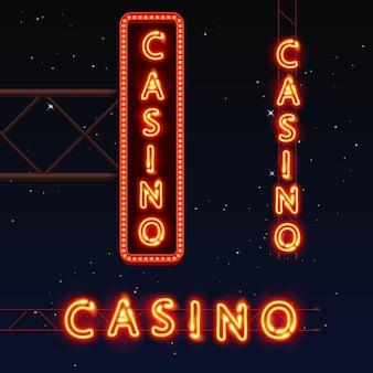 Casino-bannertext, stadtschild, vektorillustration