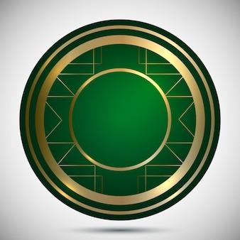Casino-chip-vorlage mit goldverzierung auf grüner hintergrundvektorillustration
