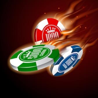 Casino-chips im flug flamme auf dunklem hintergrund gesetzt