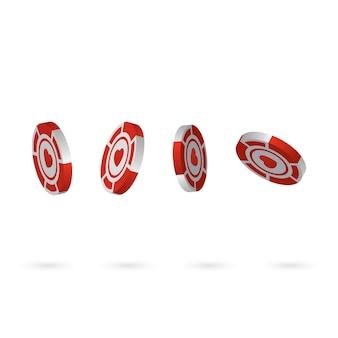 Casino-chips isoliert auf weißem hintergrund, realistisch isometrisch