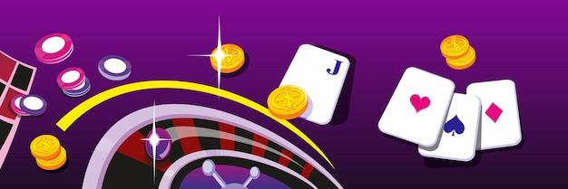 Casino-chips und beim roulette drehen. designkonzept für glücksspiel und erfolgreiches spiel.