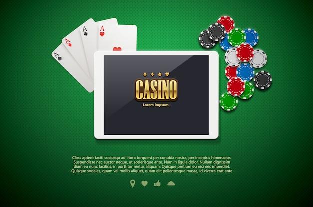 Casino-chips und handy isoliert auf grünem hintergrund