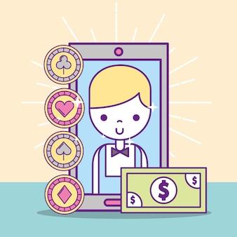 Casino-croupier männlich smartphone-banknote-anwendung online