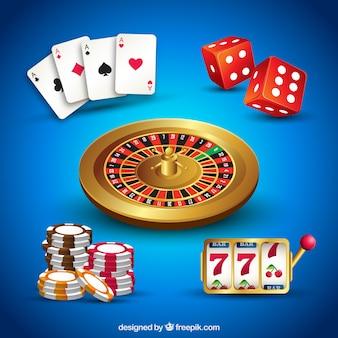 Casino elemente sammlung auf blauem hintergrund