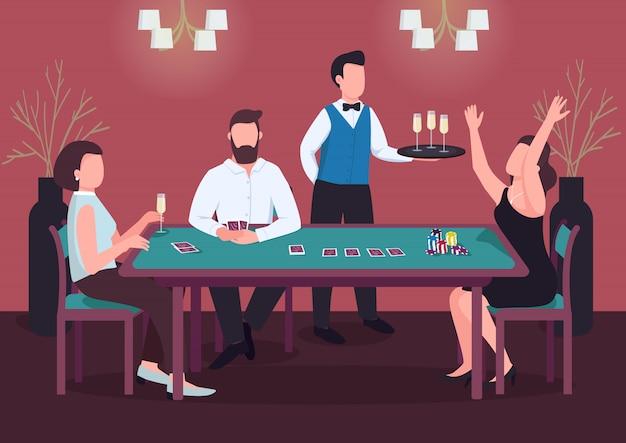 Casino farbabbildung. drei leute spielen poker. frau gewinnt kartenspiel am grünen tisch. chips, um einsätze zu machen. spielerkarikaturfiguren im innenraum mit kellner auf hintergrund