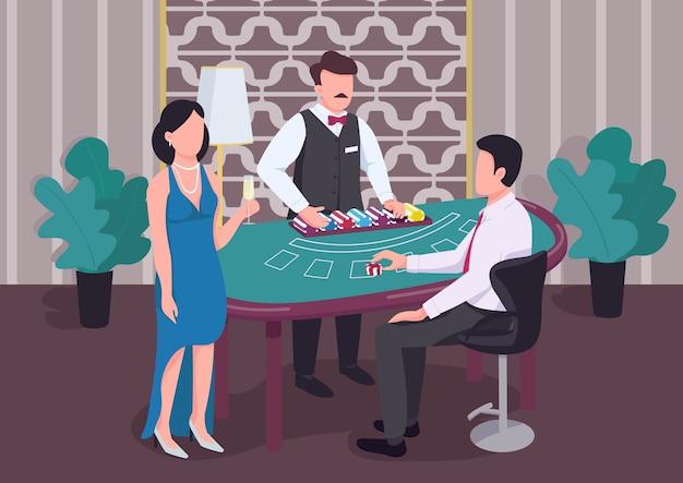 Casino flache farbe. händler zählen stapel von chips. mann am blackjack-tisch. frau mit weinuhrspieler. spieler 2d-zeichentrickfiguren im innenraum mit croupier auf hintergrund