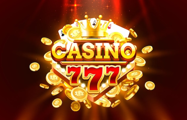 Casino free spin 777 label frame, goldenes banner, grenzsieger, vegas-spiel.