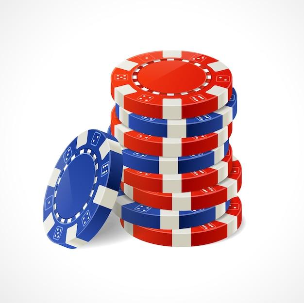 Casino gambling chips stacks. rot und blau.