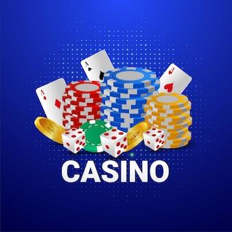Casino-glücksspiel mit casino-chips und goldmünze