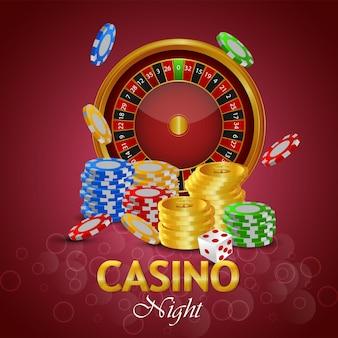 Casino-glücksspiel mit kreativer illustration von spielkarten und casino-chips