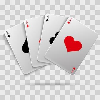 Casino-glücksspiel poker blackjack - spielkarten isoliert