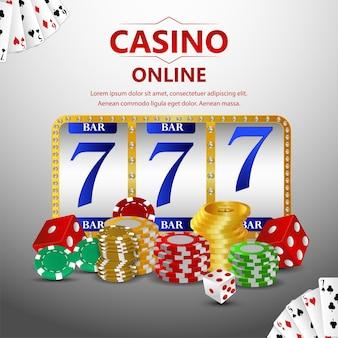 Casino glücksspiel spiel vektor-illustration mit slot und casino chips
