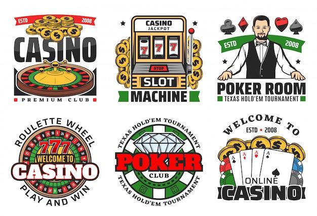 Casino-glücksspiele. roulette, pokerkarten, würfel