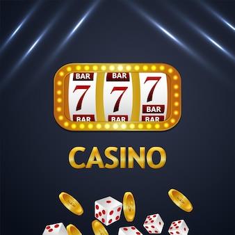Casino-glücksspielhintergrund mit spielautomat