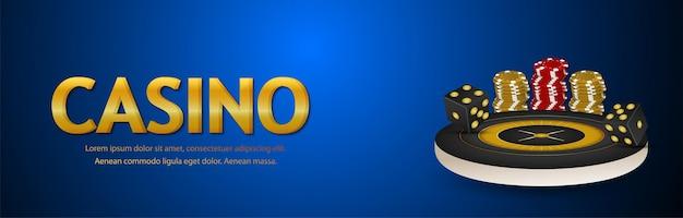 Casino-gold-texteffekt mit roulette und chips Premium Vektoren