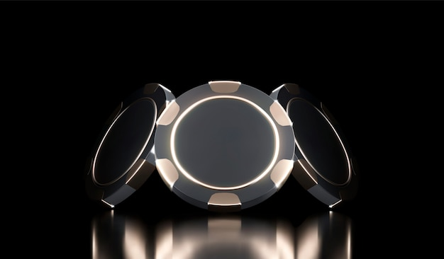 Casino hintergrund. casino-spiel 3d-chips. online casino banner. realistischer schwarz-gold-chip. glücksspielkonzept, symbol der mobilen poker-app.