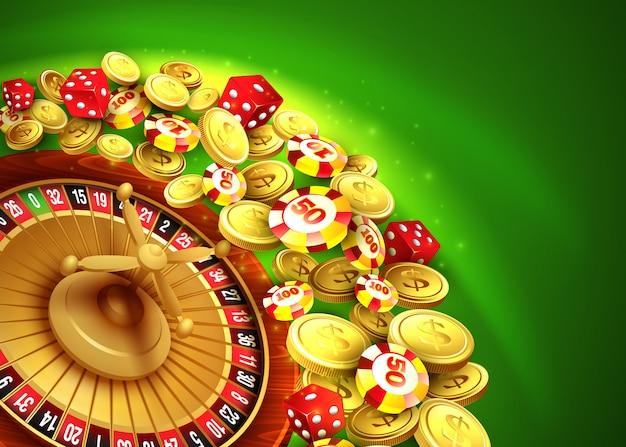 Casino hintergrund mit chips, craps und roulette.