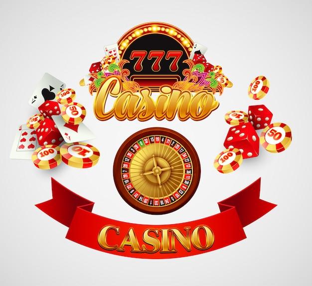 Casino hintergrund mit karten, chips, craps und roulette. illustration