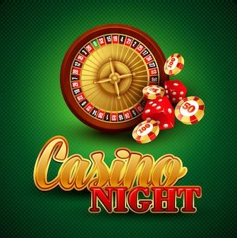 Casino hintergrund mit karten, chips, craps und roulette.