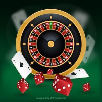 Casino hintergrund mit roulette und rote würfel