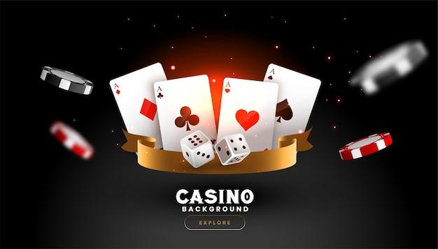 Casino hintergrund mit spielkartenwürfeln und fliegenden chips