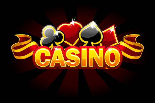 Casino-hintergrundlogo mit spielkartenschildern.