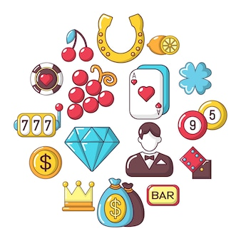 Casino-icon-set, cartoon-stil