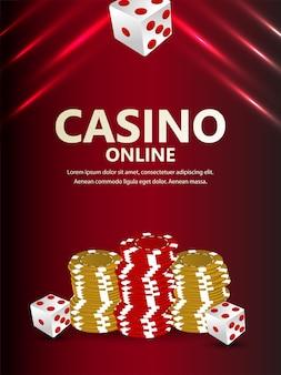 Casino-illustration mit casino-chips und goldmünze