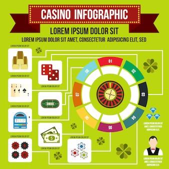 Casino-infografik im flachen stil für jedes design