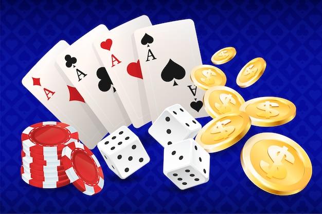 Casino, karten und casino chips, quadrate, asse.