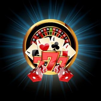 Casino-komposition mit roulette-rad