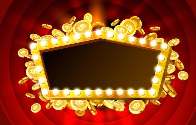 Casino-lampenrahmen mit realistischem goldmünzenhintergrund
