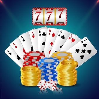Casino luxus vip einladungskarte mit spielkarten und casino chips