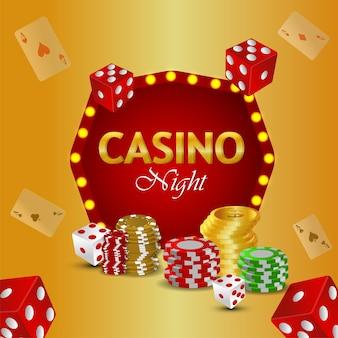 Casino luxus vip goldmünze mit bunten chips und würfeln