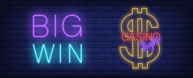Casino nacht leuchtreklame. dollarzeichen und große gewinnaufschrift auf backsteinmauerhintergrund.