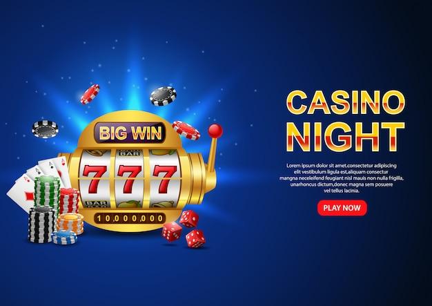 Casino nacht. mit casino 777 spielautomat, chip poker und spielkarte auf funkelndem blau. flyer, poster oder banner.