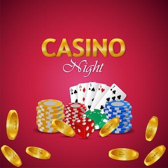 Casino nacht mit kreativer spielkarte, goldmünze mit bunten casino chips